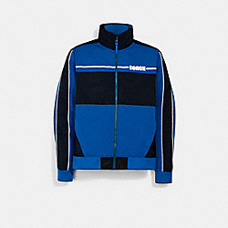 MIXED MEDIA TRACK JACKET - ROYAL BLUE - COACH 3092