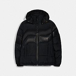 HOODED DOWN JACKET - BLACK - COACH 3094