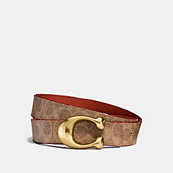 SCULPTED SIGNATURE REVERSIBLE BELT - BROWN KHAKI/RUST - COACH 31114