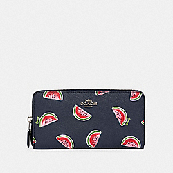 ACCORDION ZIP WALLET WITH WATERMELON PRINT - SV/NAVY RED MULTI - COACH 3111