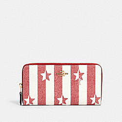 ACCORDION ZIP WALLET WITH STRIPE STAR PRINT - IM/CHALK/ RED MULTI - COACH 3117
