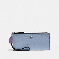 DOUBLE ZIP WALLET IN COLORBLOCK - SILVER/MIST MULTI - COACH 31262