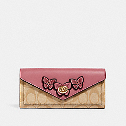 SLIM ENVELOPE WALLET IN SIGNATURE CANVAS WITH BUTTERFLY APPLIQUE - IM/LT KHAKI/ ROSE - COACH 3126