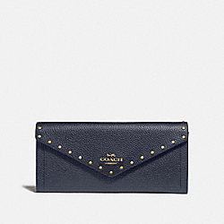 SOFT WALLET WITH RIVETS - B4/MIDNIGHT NAVY - COACH 31426