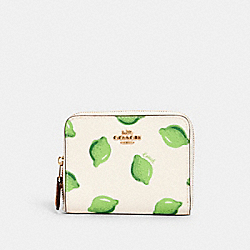 SMALL ZIP AROUND WALLET WITH LIME PRINT - IM/CHALK GREEN MULTI - COACH 3153