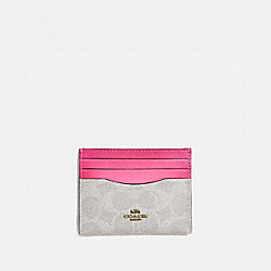 CARD CASE IN COLORBLOCK SIGNATURE CANVAS - B4/CHALK CONFETTI PINK - COACH 31541