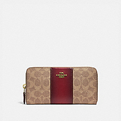 ACCORDION ZIP WALLET IN COLORBLOCK SIGNATURE CANVAS - B4/TAN DEEP RED - COACH 31546