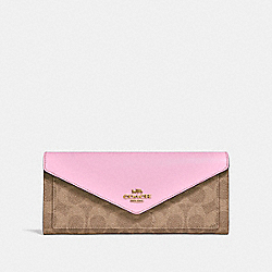 SOFT WALLET IN COLORBLOCK SIGNATURE CANVAS - B4/TAN BLOSSOM - COACH 31547