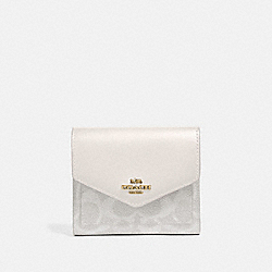 SMALL WALLET IN COLORBLOCK SIGNATURE CANVAS - B4/CHALK CHALK - COACH 31548