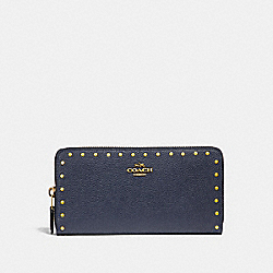 ACCORDION ZIP WALLET WITH RIVETS - B4/MIDNIGHT NAVY - COACH 31810