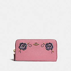 ACCORDION ZIP WALLET WITH LEATHER SEQUIN APPLIQUE - ROSE/BRASS - COACH 31814