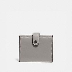 SMALL TRIFOLD WALLET WITH ROSE PRINT INTERIOR - HEATHER GREY/BLACK COPPER - COACH 31820