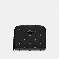 SMALL ZIP AROUND WALLET WITH RAINBOW RIVETS - DK/BLACK - COACH 31839