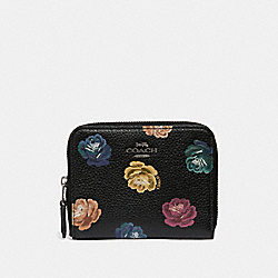SMALL ZIP AROUND WALLET WITH RAINBOW ROSE PRINT - DK/RAINBOW ROSE PRINT - COACH 31850