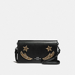 SLIM PHONE CROSSBODY WITH CRYSTAL EMBELLISHMENT - BLACK/DARK GUNMETAL - COACH 31872