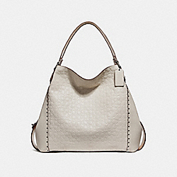 EDIE SHOULDER BAG 42 IN SIGNATURE LEATHER WITH RIVETS - BP/CHALK - COACH 31930