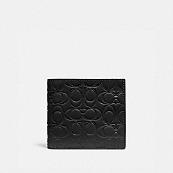 DOUBLE BILLFOLD WALLET IN SIGNATURE LEATHER - BLACK - COACH 32037