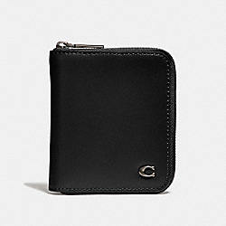 SMALL ZIP AROUND WALLET WITH SIGNATURE HARDWARE - BLACK - COACH 32079