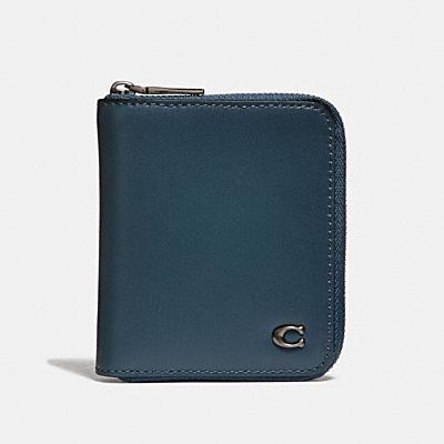 SIGNATURE經典金屬配件小型拉鍊式皮夾