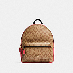 MEDIUM CHARLIE BACKPACK IN SIGNATURE CANVAS - IM/KHAKI POPPY - COACH 32200
