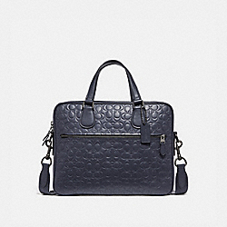 HUDSON 5 BAG IN SIGNATURE LEATHER - MIDNIGHT NAVY/BLACK ANTIQUE NICKEL - COACH 32210