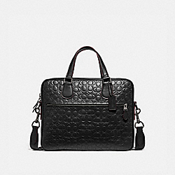 HUDSON 5 BAG IN SIGNATURE LEATHER - BLACK/BLACK ANTIQUE NICKEL - COACH 32210