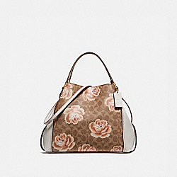 EDIE SHOULDER BAG 28 IN SIGNATURE ROSE PRINT - B4/TAN CHALK - COACH 32314