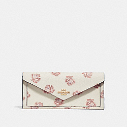 SOFT WALLET WITH ROSE PRINT - CHALK ROSE PRINT/LIGHT GOLD - COACH 32437
