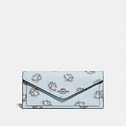 SOFT WALLET WITH ROSE PRINT - SKY ROSE PRINT/SILVER - COACH 32437