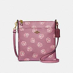 KITT MESSENGER CROSSBODY WITH ROSE PRINT - ROSE ROSE PRINT/BRASS - COACH 32454