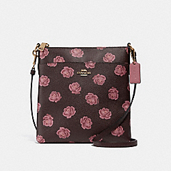 KITT MESSENGER CROSSBODY WITH ROSE PRINT - GOLD/OXBLOOD ROSE PRINT - COACH 32454