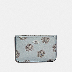 ZIP CARD CASE WITH ROSE PRINT - SKY ROSE PRINT/SILVER - COACH 32474