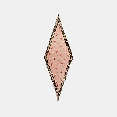 래빗 믹스드 프린트 다이아몬드 스카프