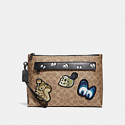 DISNEY X COACH CARRYALL POUCH WITH SIGNATURE PATCHWORK - KHAKI - COACH 32642