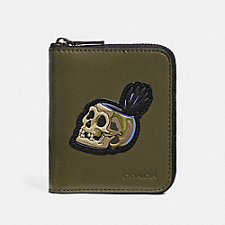 DISNEY X COACH SMALL ZIP AROUND WALLET WITH SKULL - ARMY GREEN - COACH 32647