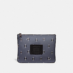 MULTIFUNCTIONAL POUCH WITH IKAT GEO PRINT - GREY/CHALK - COACH 32655