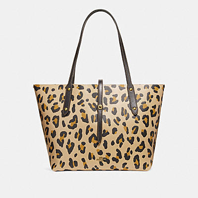 MARKET豹紋印花手提袋