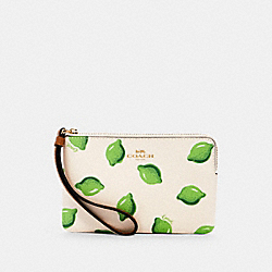 CORNER ZIP WRISTLET WITH LIME PRINT - IM/CHALK GREEN MULTI - COACH 3283