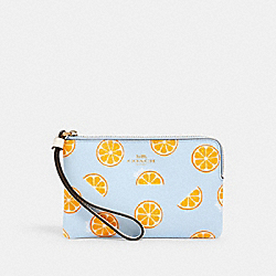 CORNER ZIP WRISTLET WITH ORANGE PRINT - IM/ORANGE/BLUE - COACH 3284