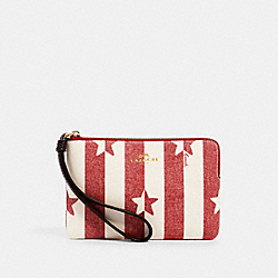 CORNER ZIP WRISTLET WITH STRIPE STAR PRINT - IM/CHALK/ RED MULTI - COACH 3287