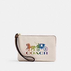 CORNER ZIP WRISTLET WITH RAINBOW HORSE AND CARRIAGE - IM/CHALK MULTI - COACH 3288