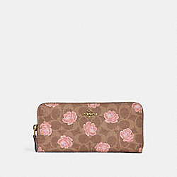 SLIM ACCORDION ZIP WALLET IN SIGNATURE ROSE PRINT - B4/TAN - COACH 32999