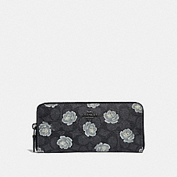 SLIM ACCORDION ZIP WALLET IN SIGNATURE ROSE PRINT - DK/CHARCOAL SKY - COACH 32999