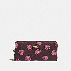 SLIM ACCORDION ZIP WALLET WITH ROSE PRINT - GD/OXBLOOD ROSE PRINT - COACH 33016