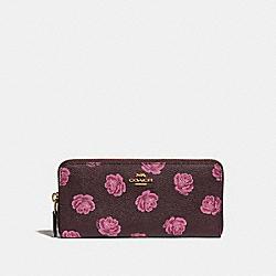SLIM ACCORDION ZIP WALLET WITH ROSE PRINT - GD/OXBLOOD ROSE PRINT - COACH 33016