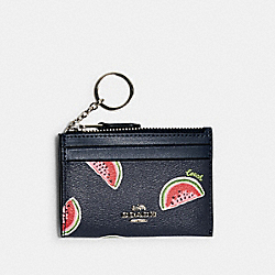MINI SKINNY ID CASE WITH WATERMELON PRINT - SV/NAVY RED MULTI - COACH 3301