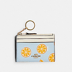 MINI SKINNY ID CASE WITH ORANGE PRINT - IM/ORANGE/BLUE - COACH 3303