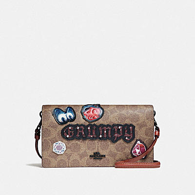 DISNEY X COACH GRUMPY FOLDOVER CROSSBODY CLUTCH