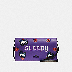 DISNEY X COACH SLEEPY FOLDOVER CROSSBODY CLUTCH - PURPLE/BLACK COPPER - COACH 33045