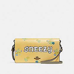 DISNEY X COACH SNEEZY FOLDOVER CROSSBODY CLUTCH - SUNFLOWER/BLACK COPPER - COACH 33048
